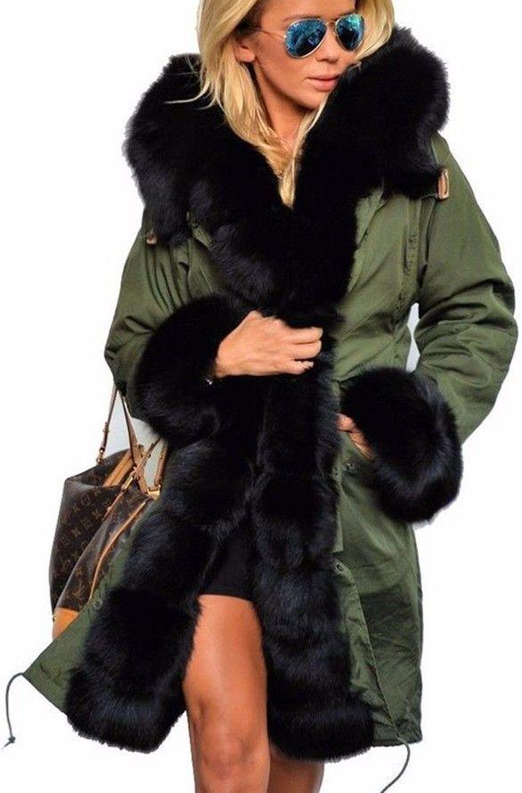 Detachable Fur-Trim Coat - (Green, Black, Khaki)