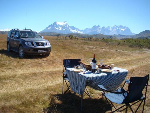Lunch with a view of Torres del Paine Mountain Range (and your very own private 4WD)  www.awasipatagonia.com  Photos by Awasi Patagonia guide, Macarena Zapata.
