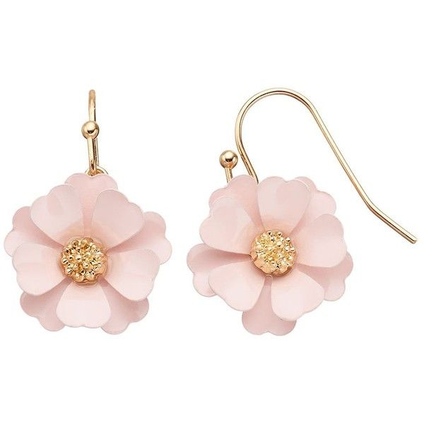 LC Lauren Conrad Pink Flower Drop Earrings (€11) ❤ liked on Polyvore featuring jewelry, earrings, pink, flower jewellery, flower jewelry, floral earrings, pink jewelry and flower drop earrings