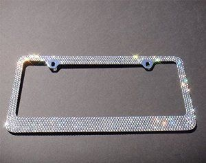 Popular Bling 7 Row White/Clear Color Crystal Metal Chrome License Plate Frame With Free Screw Cap