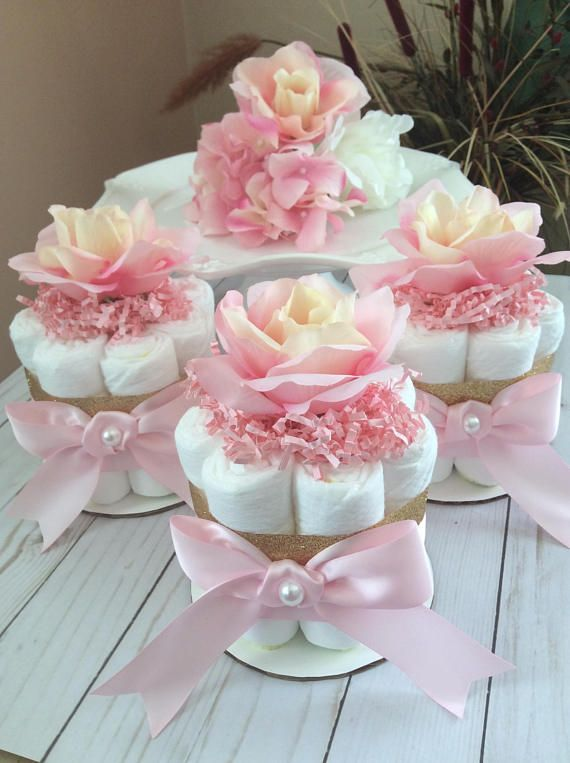 Blush Pink And Gold Mini Diaper Cake Set Of 3 Girl Baby Con