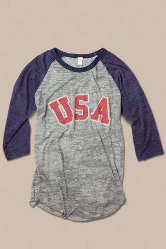 American Apparel-   grey heather/navy tee