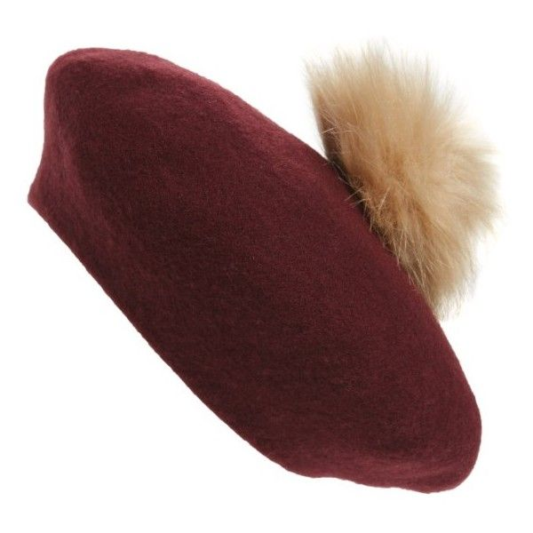 Women's Nyc Underground Faux Fur Pompom Beret ($19) ❤ liked on Polyvore featuring accessories, hats, cranberry, fake fur hats, faux fur hats, nyc underground, pom pom hats and pompom hat