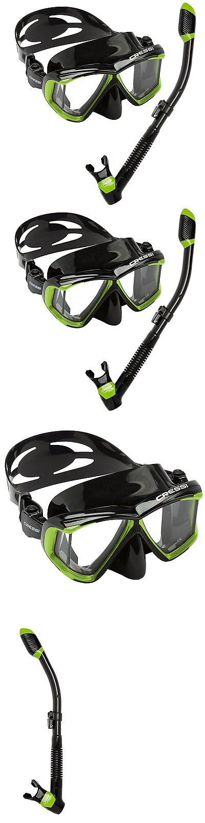 Snorkels and Sets 71162: Cressi Panoramic Wide View 4 Panel Mask Dry Snorkel Set, Lime Green Black -> BUY IT NOW ONLY: $62.32 on eBay!