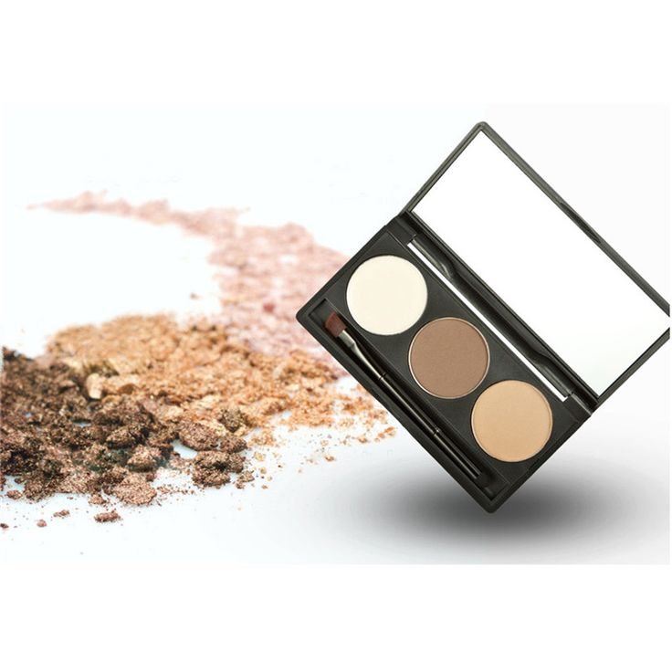 3 Colors/set Eyebrow Eye Shadow Powder Natural Eye Brow Palette Long Lasting Sweat-resistant Eyebrow With Eyebrow Brush Mirror