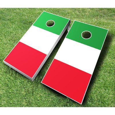 Italian Flag Cornhole Set with Bags Royal Blue / Black Bags - ITALIAN FLAG ROYAL/BLACK, AJJ036-7