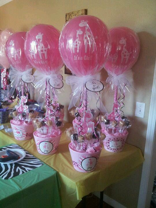 Custom table centerpeices for baby shower! LOVE these!  Improvise to use for a sweet sixteen...just love the idea.
