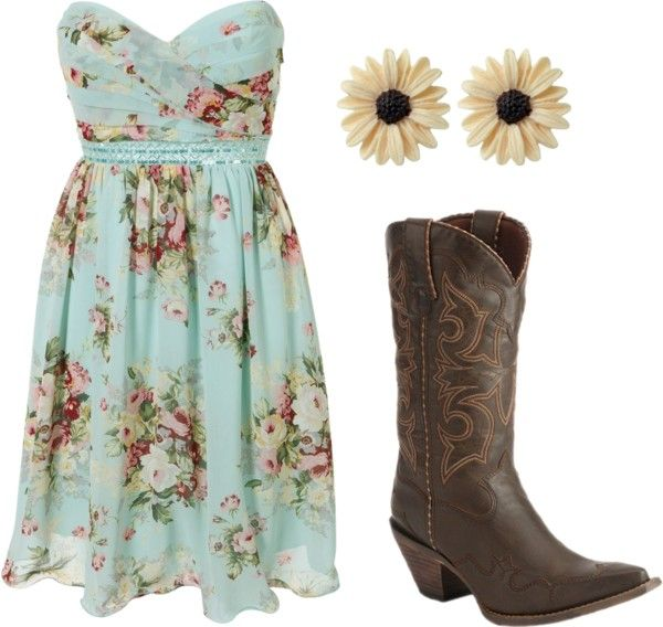 Cute!Cowboy Boots, Cute Dresses, Country Girls, Country Concerts, Cute Outfit, The Dresses, Cowgirls Boots, Floral Dresses, Country Outfits