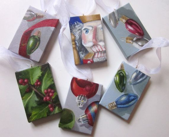 Christmas Ornament Painted on Small Canvas Acrylic by ShirleyArt
