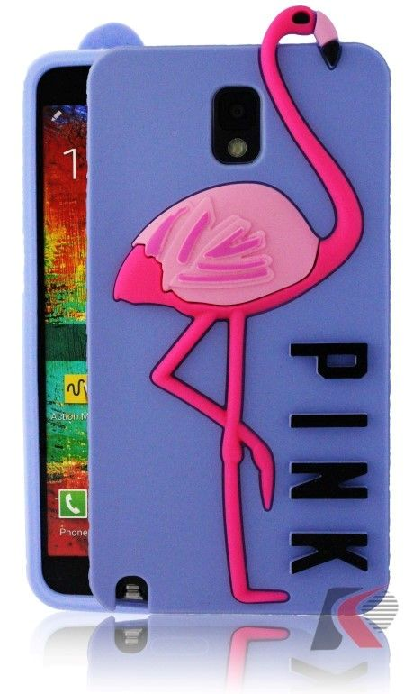 Pink Samsung Galaxy Note 3 Flamingo Desenli Mor Silikon Kılıf.