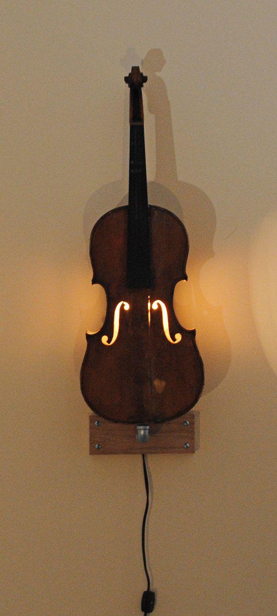 Vintage violin wall light by yeROCdesigns on Etsy, $250.00