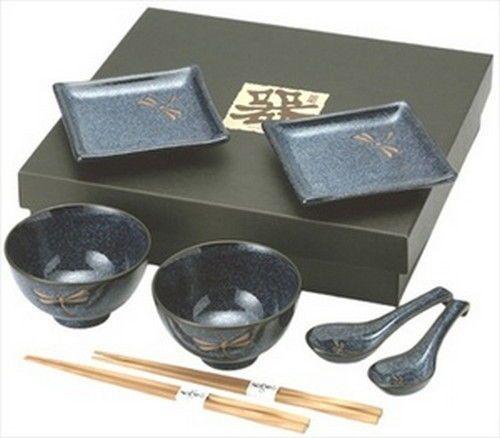 Japanese Dragonfly Sushi Plate Bowl Spoon Set BH81-N #JapanBargain