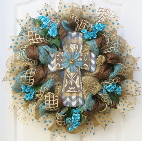Cross Wreath Teal and Burlap Cross Wreath Deco by PinkBluebonnet