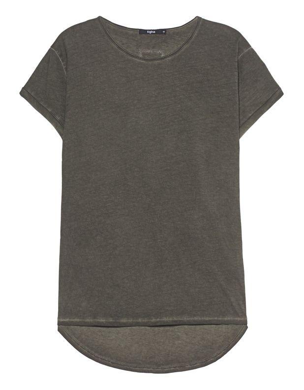 Baumwoll-T-Shirt Gerade geschnittenes olivfarbenes T-Shirt im angesagten Bleach-Out-Look aus hochwertiger Baumwolle mit umgeschlagenen Ärmeln, nach hinten abfallenden Saum, Rundhalsausschnitt mit offenem Saum und kleinen gestickten Logo auf der Front sowie eine kleine Stickerei am Rücken.  Absolut angesagtes Basic-Piece, welches sich vielseitig kombinieren lässt!