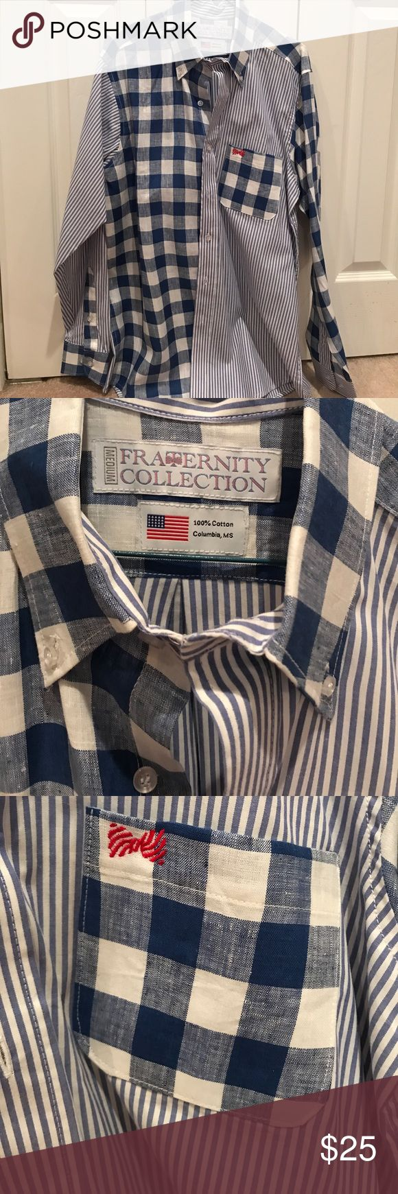 Fraternity Collection shirt Blue and white striped and checked Fraternity Collection Shirt. Never worn!! Made in the USA! Fraternity Collection Shirts Casual Button Down Shirts