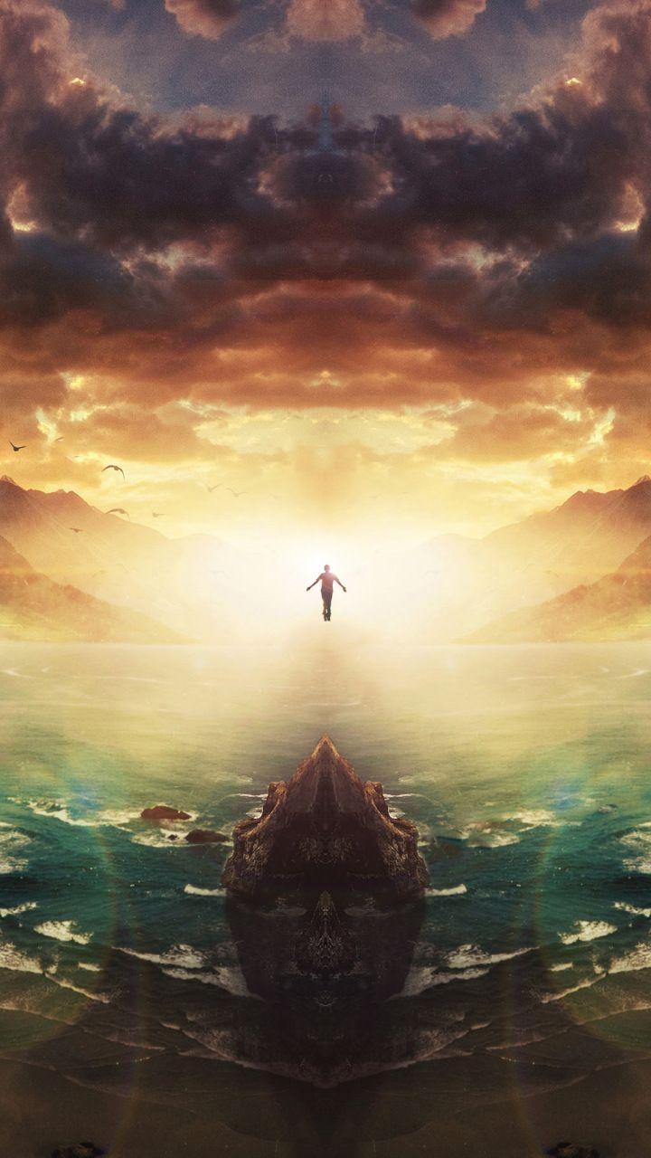 Sunset Human Flight Fantasy Sky Clouds 720x1280