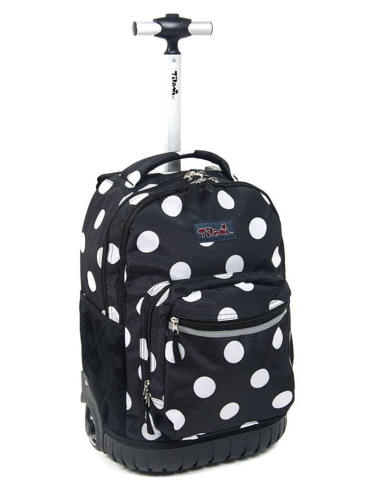 Tilami® New Antifouling Design 18 Inch Human Engineering Design Laptop Noiseless Wheeled Rolling Backpack - Black White Dot Luggage for Girls
