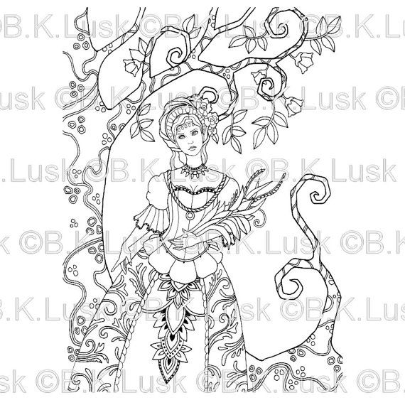 elaborate fairy coloring pages - photo#13