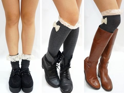 Lace Bow Side Knee High Lace Boot Socks - Dark Grey from Sandysshop