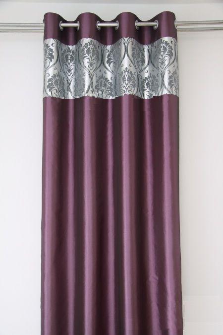 Zasłony fioletowe do salonu ze srebnym wzorem