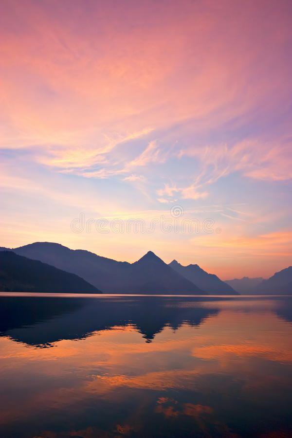 Mountain Sunrise Beautiful Sunrise Over Mountains Reflected On Lake Central S S Mountain Sunset Landscapes Sunrise Photography Nature Sunrise Photography