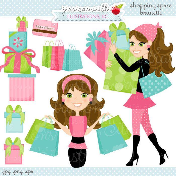 Shopping Spree Brunette Cute Digital Clipart, Commercial Use OK, Woman Shopping Clipart, Shopping Graphics by JWIllustrations on Etsy https://www.etsy.com/uk/listing/63389131/shopping-spree-brunette-cute-digital