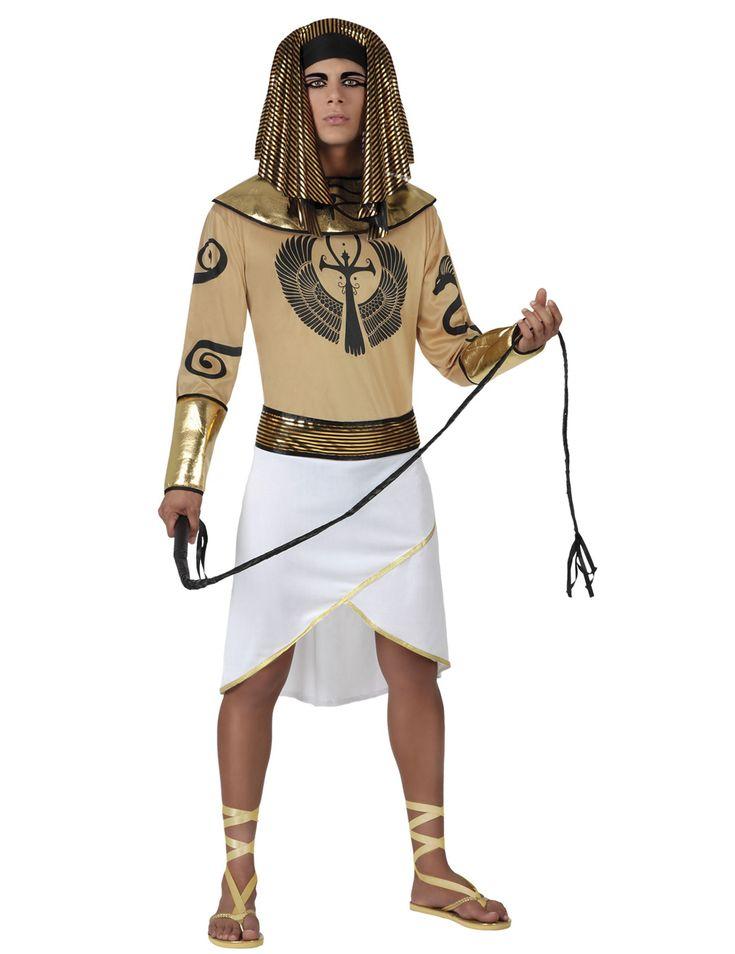 Disfraz egipcio hombre: Este disfraz de egipcio para hombre incluye vestido, gorro y cinturón (látigo y zapatos no incluidos).La parte superior de la túnica es beige con detalles egipcios. El bajo es...