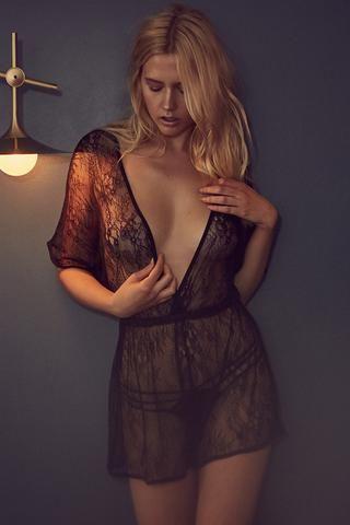 Alicia Black Satin and Lace Pyjama Set