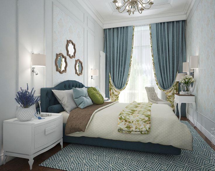 Спальня в трехкомнатной квартире в центре столицы. Стиль интерьера - мягкая классика.
