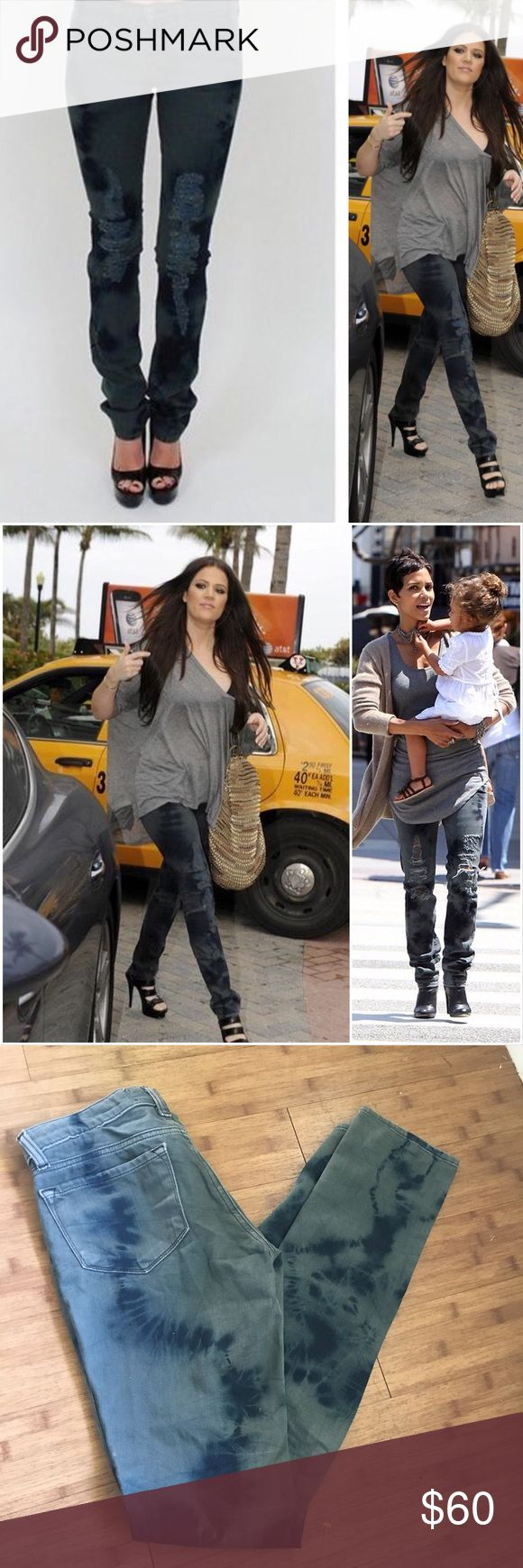 """J Brand Boutique Slashed Berlin Distressed Jeans Super cute factory distressed and bleached jeans. As seen on Halle Berry and Khloe Kardashian! Excellent pre-owned condition. No rips, holes or stains.  Approximate measurements: 14"""" waist laying flat 7"""" rise 34"""" inseam J Brand Jeans Skinny"""
