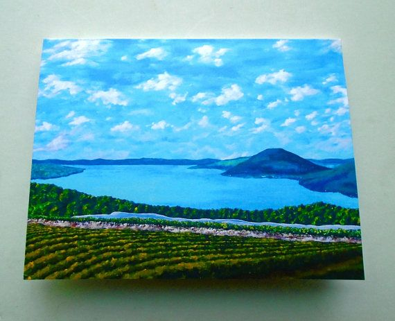 Canandaigua Lake print reproduction greeting card 4 x