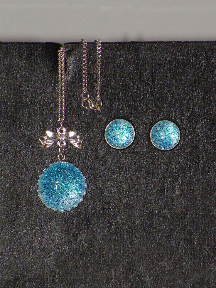 Parure 2 pièces Cabochons paillettes bleues : Parure par jl-bijoux-creation