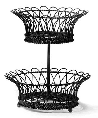 Take a look at this Marseilles Black Two-Tier Basket by AQ on #zulily today!