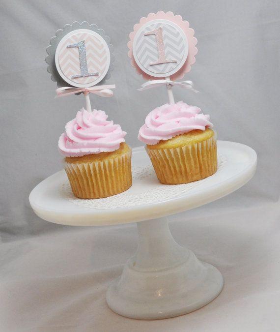 Chevron Cupcake Toppers Girl Shabby Chic by CardsandMoorebyTerri, $18.00