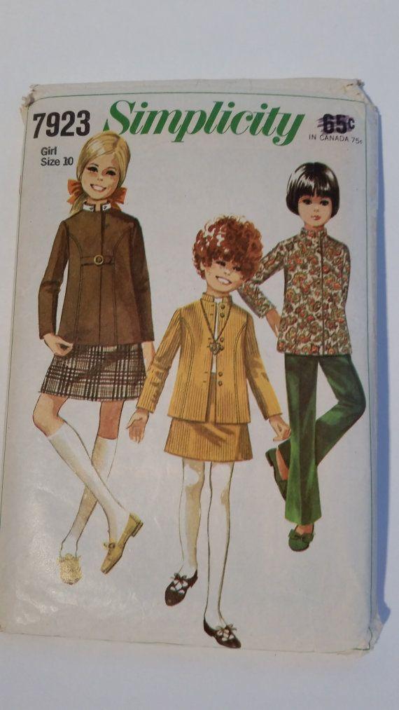 Vintage 1968 Simplicity 7923 sewing pattern girls' skirt