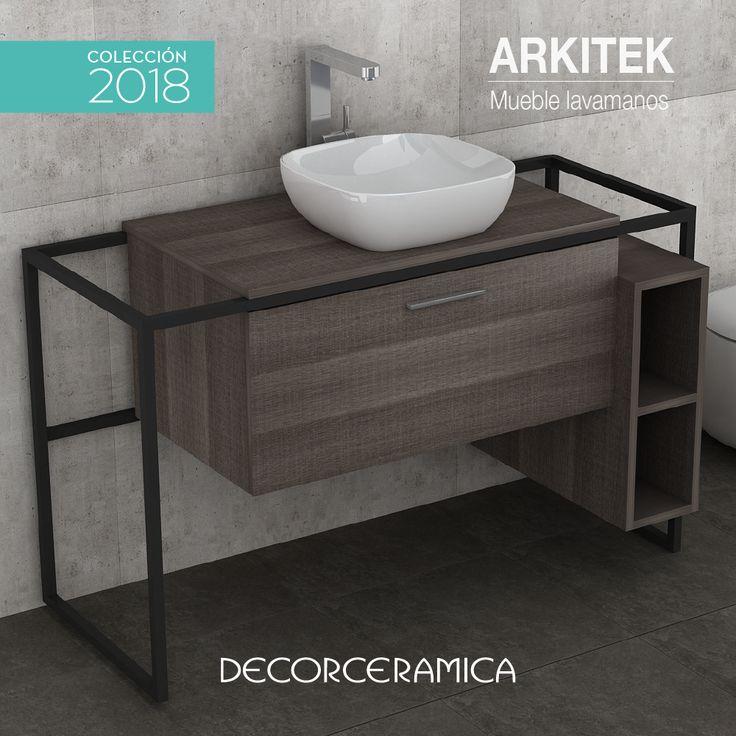 Con la combinación del Industrial Look y el Wood Style llega la renovación definitiva de los muebles de baño… Madera y acero la nueva tendencia que será furor mundial en los ambientes modernos.  #banos #baños #lavamanos #mueblelavamanos #decorceramica #diseño #arquitectura