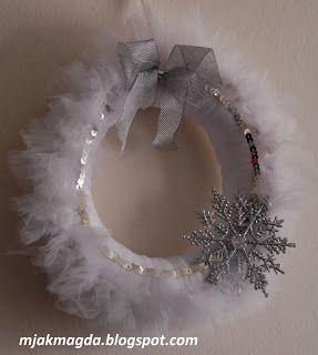 wianek świąteczny z tiulu