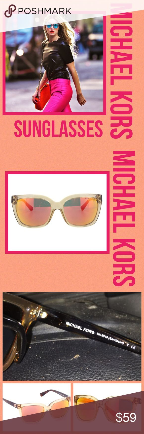 Michael Kors NWT 6016 Crystal Beige Mirror Shades Michael Kors MK 6016 30516Q 54 Sandestin Crystal Beige Orange Mirror Sunglasses NWT never worn so hot  Brand: Michael Kors Model: 6016 MK Color Code: 30516Q Frame Color: Crystal Beige Brown Gender: UNISEX Size: 54-16-135  We guarantee each product to be 100% Authentic. Every single item is brand new, never used and never worn. Michael Kors Accessories Sunglasses