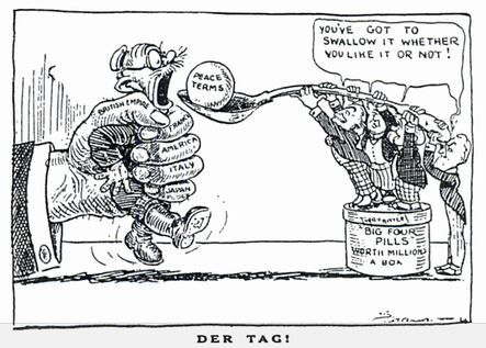 Political cartoon of the Treaty of Versailles stating that