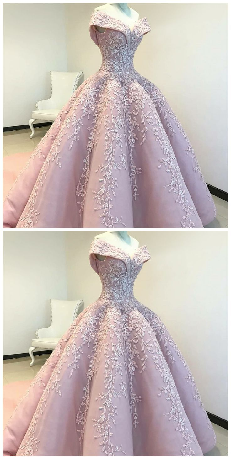 Off #the #shoulder #ball #dress #pink #long #prom, #Ball #Dress
