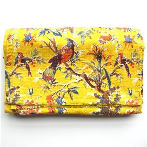 I've never seen a Kantha quilt with a bird Motif...LOVE it!