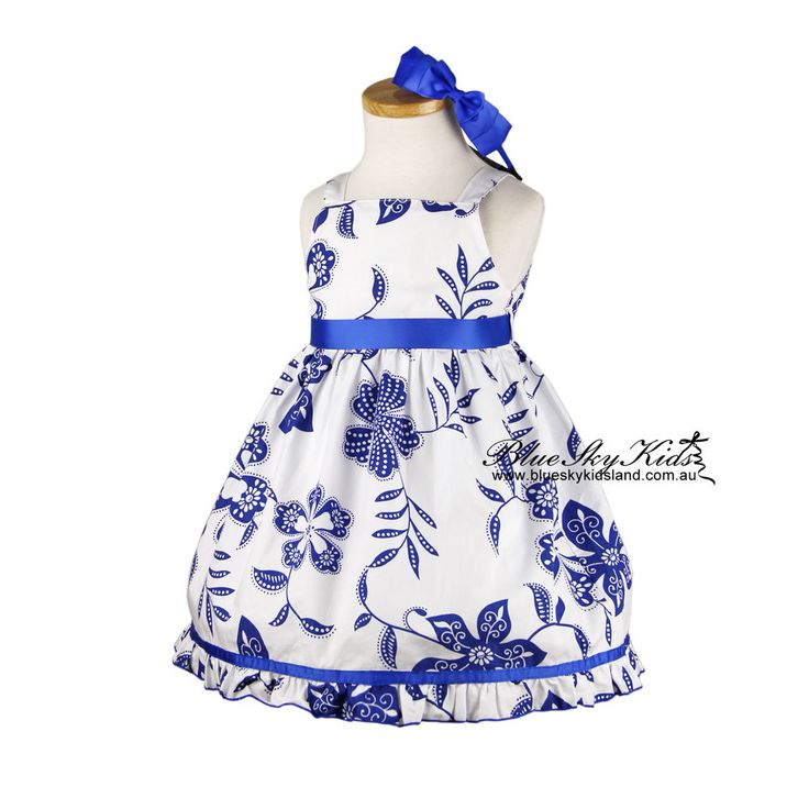 NEW Girls Cotton Dress Size 3/6m-8Yr White cotton dress with Blue Flowers Print