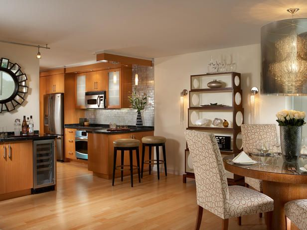 Kitchen; open to dining, bar area.