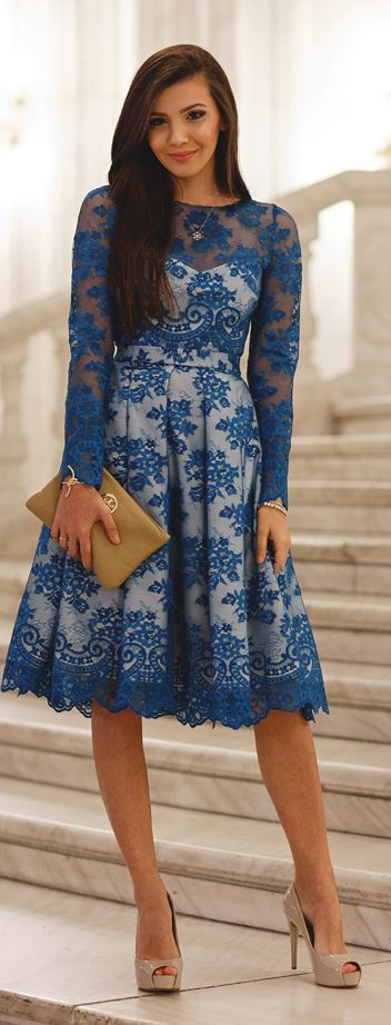 Blue Lace White Lined Midi Dress #Fashionistas