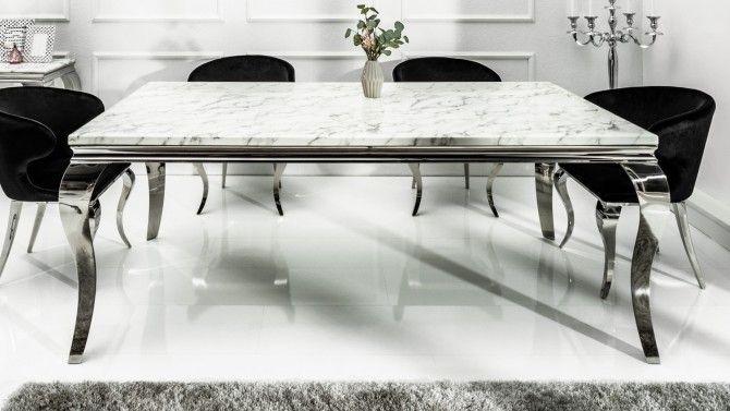 Table de salle à manger baroque plateau marbre blanc Zita