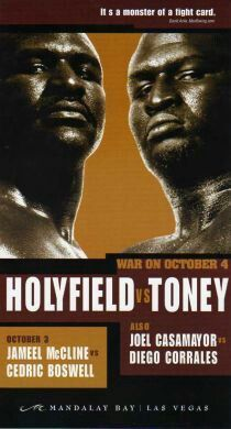 Evander Holyfield vs. James Toney - War On October 4 fight poster
