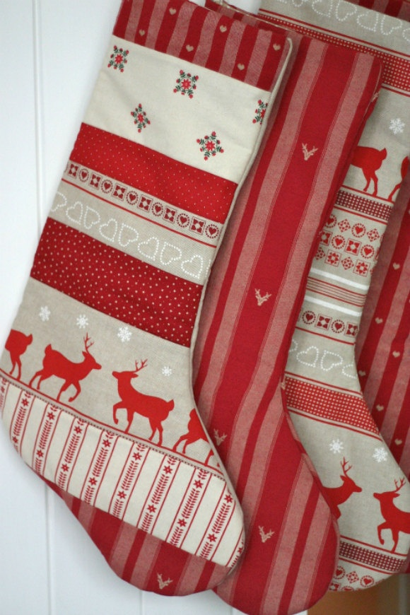 Handmade Patchwork Christmas Stockings - just gorgeous. Love the Scandi Christmas style.