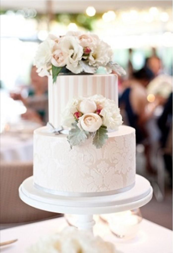 peach white and silver wedding cake wedding cake tiered classical damask striped white pink 18154