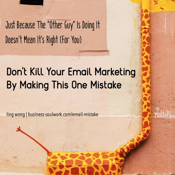 """Just because """"the other guy"""" is doing something doesn't mean (1) it actually works and (2) it'll work for you.  Respect your audience's headspace, time, and inbox. Don't send crap content out of FOMO >> http://business-soulwork.com/email-mistake/  #emailmarketing #contentmarketing #copywriting #solopreneur #mompreneur #entrepreneur #smallbusiness #smallbusinessmarketing #honestmarketing #coach #healthcoach #lifecoach"""