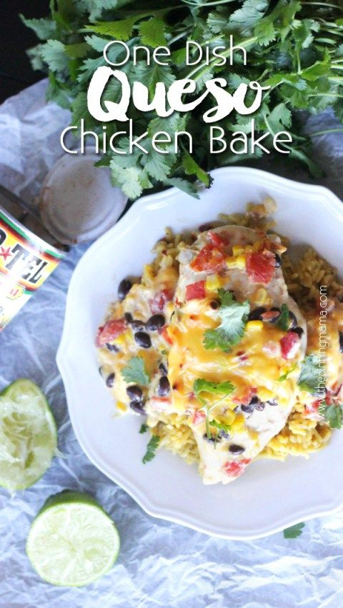 5 ingredients + 1 Pan = Easy dinner everyone will love! Easy queso chicken bake. Rotel and velveeta over chicken breast with corn, black beans. Seriously what's not to love?!